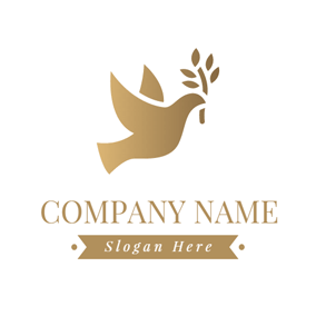 Brown Branch and Outlined Dove logo design