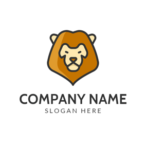 Brown Cartoon Lion Face logo design
