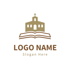yellow church and cross brown church and white book logo design