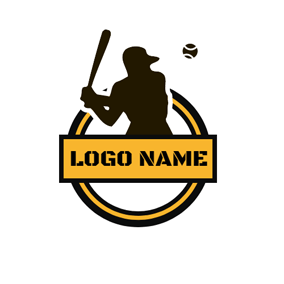 Brown Circle and Ballplayer logo design