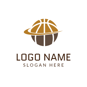 Brown Circle and Basketball logo design