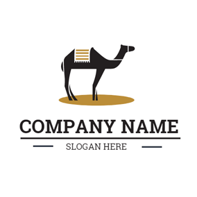 Brown Circle and Black Camel logo design