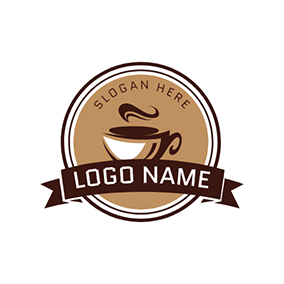Brown Circle and Chocolate Coffee logo design