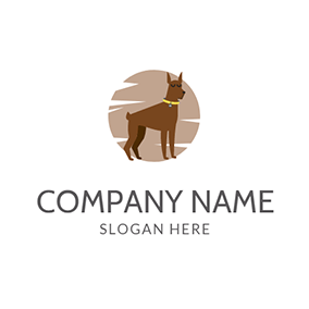 Brown Circle and Chocolate Dog logo design