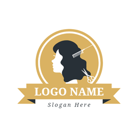 Brown Circle and Combing Hair logo design