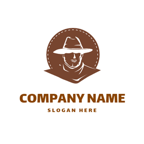 Brown Circle and Cowboy logo design