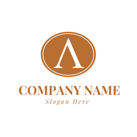 Brown Circle and Letter A logo design