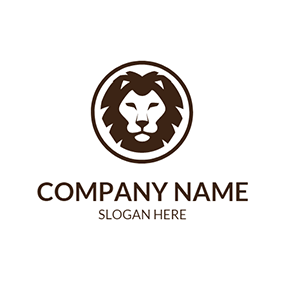 Brown Circle and Lion Head logo design