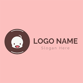 Brown Circle and Lovely Baby logo design