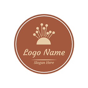Brown Circle and Needle logo design