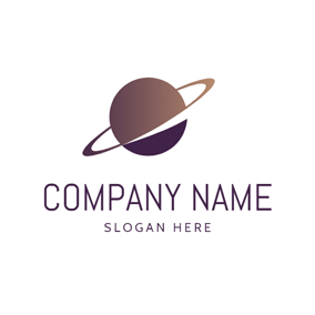 Brown Circle and Orbit logo design
