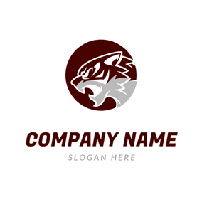 Brown Circle and Tiger Head logo design
