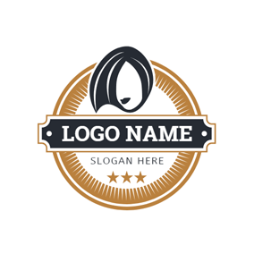 Brown Circle and Trendy Hairstyle logo design