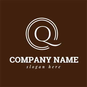 Brown Circle and White Letter Q logo design