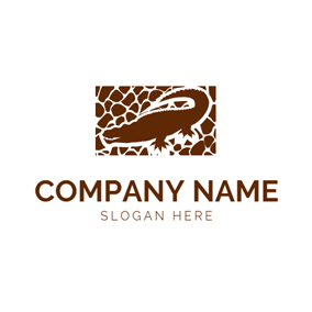 Brown Crozzling and Alligator logo design