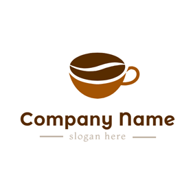 Brown Cup and Chocolate Coffee logo design