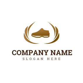 brown decoration and encircled shoe logo design