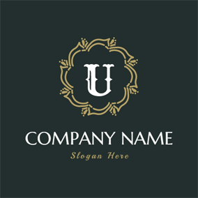 Brown Decoration and Letter U logo design