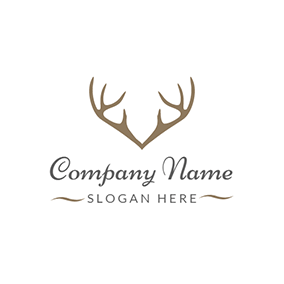 Brown Deer Horn Icon logo design