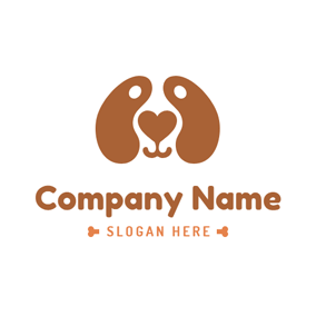 Brown Dog Ear and Face logo design
