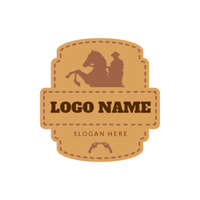 Brown Equestrian Leather Badge logo design