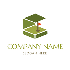 Brown Flagpole and Green Golf Course logo design