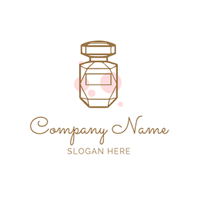 Brown Geometry Perfume Button logo design