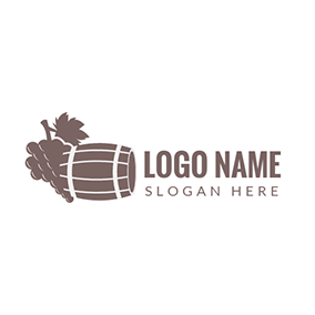 Brown Grape and Wooden Barrel logo design