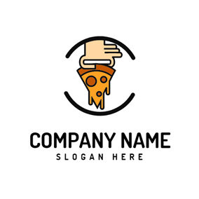 Brown Hand and Pizza logo design