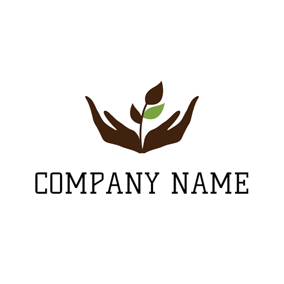 Brown Hand and Sapling logo design