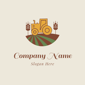 Brown Harvester and Wheat logo design