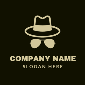 Brown Hat and Glasses logo design