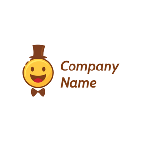Brown Hat and Smile Face logo design