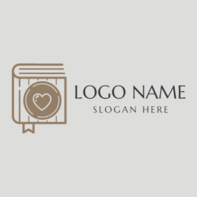 Brown Heart and Book logo design