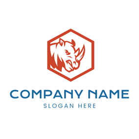Brown Hexagon and Rhino Head logo design