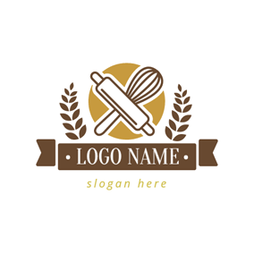 Brown Kitchenware and Wheat logo design