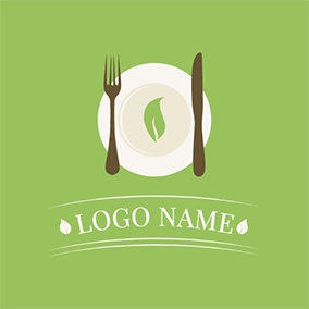 Brown Knife and Fork Icon logo design