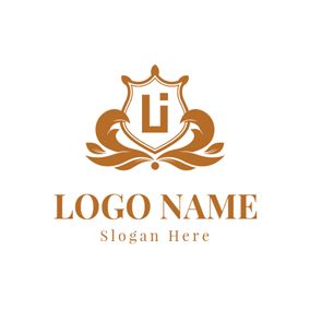 Brown Letter L and I Monogram Badge logo design