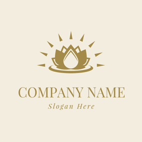 Brown Light and Blooming Lotus logo design