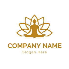 Brown Lotus and Meditation logo design