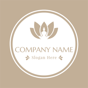 Brown Lotus and Outlined Yogi logo design
