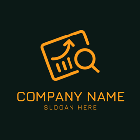 Brown Magnifier and Paper logo design