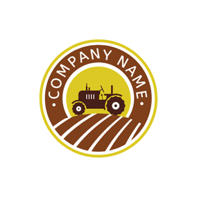 Brown Meadow and Tractor logo design
