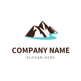 Brown Mountain and River logo design