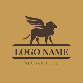 Brown Powerful Winged Leo Lion logo design