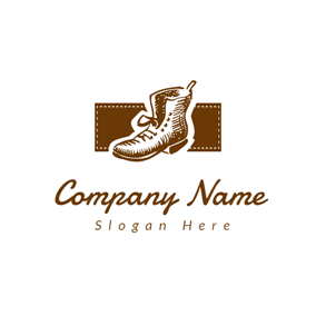 Brown Rectangle and Boot logo design