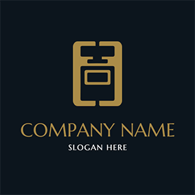 Brown Rectangle and Perfume Bottle logo design