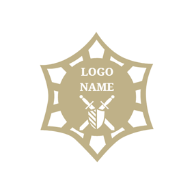 Brown Shape and White Sword logo design