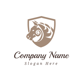 Brown Shield and Horse logo design