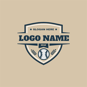 Brown Shield and White Baseball logo design